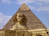 The Sphinx and the Pyramid of Khafre, the 2nd largest on the plateau and with it's peak still capped with a limestone casing.