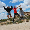 Jumping for joy with my kids as we camp for fun while Mommy is on the road. Joshua Tree National Park, California.