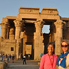 Nicole and Monika learn of ancient history of the Gods and royalty at Horus Temple in Aswan, Egypt.