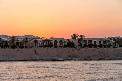 Hurgarda coastline with palm trees and traditional egyptian architecture