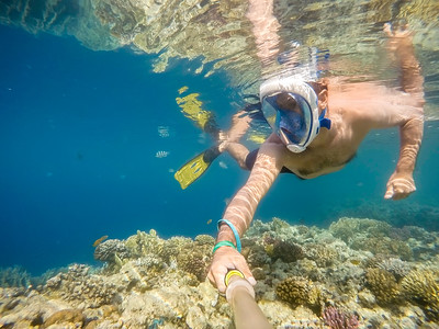 man snorkel in shallow water on coral fish