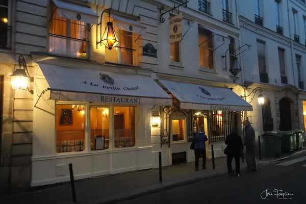 A la Petite Chaise.   The oldest restaurant in Paris and an excellent choice for dinner.  Founded in 1680!