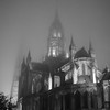 Bayeux cathedral on a foggy October night