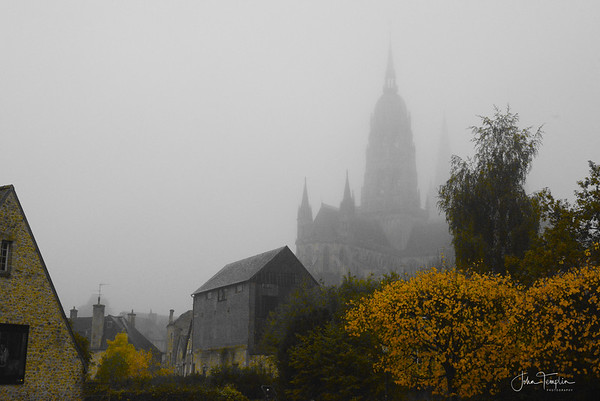 Bayeux cathedral on a foggy October morning