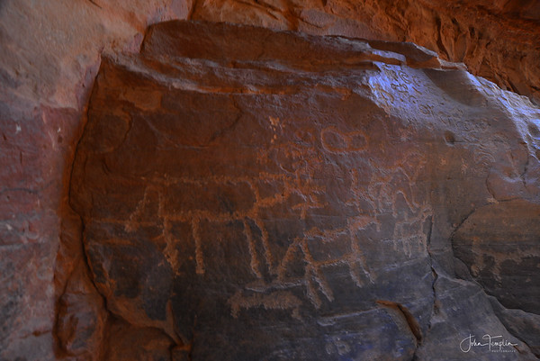 Jebel Anfasheih with ancient Nabatean inscriptions