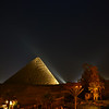 The view from our balcony of the pyramid light show