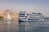 A Nile River boat on the river near Aswan, Egypt.