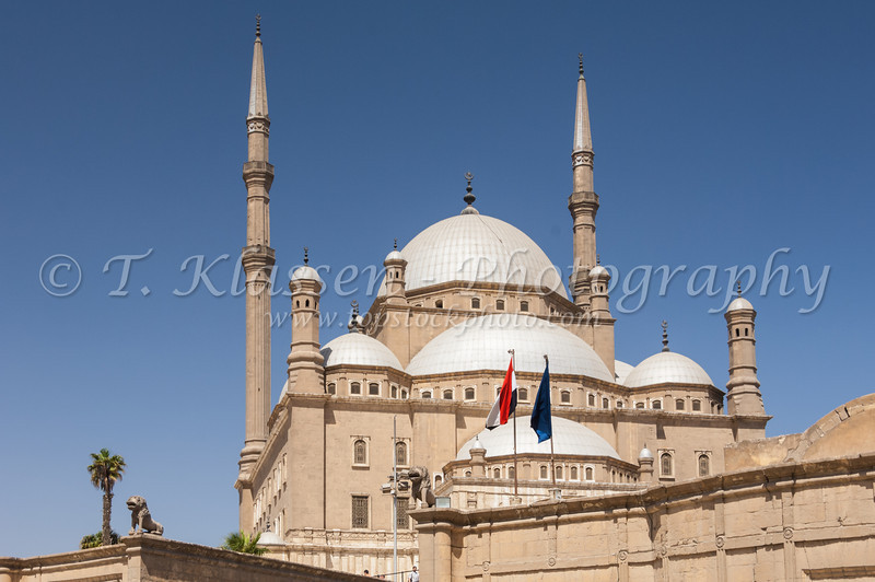 The exterior facade of the Mosque of Mohammed Ali or the Alabaster Mosque in Cairo, Egypt.