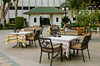 Seating area at an outdoor patio at the Sheraton Heliopolis Hotel in Cairo, Egypt.