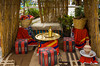 An outdoor lounge for smoking the sheesha at the Sheraton Heliopolis Hotel in Cairo, Egypt.