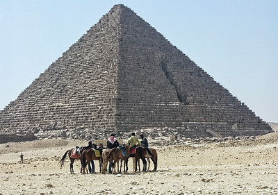 Riding around at the Great Pyramid in Egypt