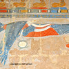The royal protection of the vulture in painted bas-relief at the new kingdom mortuary temple of Queen Hatshepsut at Thebes in Egypt