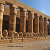 Avenue of ram sphinxes in the great court of the ancient Egyptian temple of Amun at Karnak, Luxor in Egypt