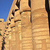 Colonnade of lotus columns in the ancient Egyptian temple of Amun at Karnak, Luxor in Egypt