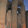 colossal statues of Ramses II at night at the Luxor Temple in Egypt