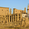 Pylon; muslim mosque columns, obelisk  and vestibule at the Luxor Temple in Egypt