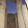 Closed Lotus columns in the Luxor Temple in Egypt at night