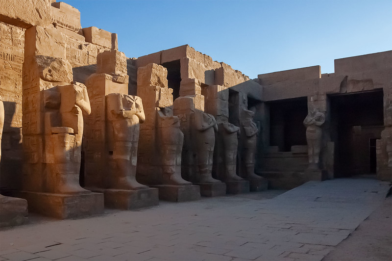 Courtyard With Statues of Pharaohs