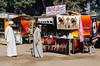 Tourist kiosks shops selling souvenirs in historic Memphis, Egypt.
