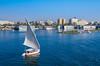 Felucca sailboats on the Nile River near Aswan, Egypt.