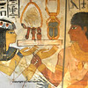Painting of a gift from wife to husband in the ancient egyptian necropolis of the nobles at thebes near Luxor, Egypt