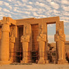 Line of giant Osiris statues at the Ramesseum, the ancient egyptian mortuary temple of Ramses II at thebes near Luxor, Egypt