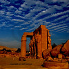 low key image dramatic  of the Ramesseum, the ancient egyptian mortuary temple of Ramses II at thebes near Luxor, Egypt