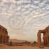 Evening light falling on the Ramesseum, the ancient egyptian mortuary temple of Ramses II at thebes near Luxor, Egypt