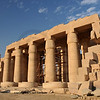 Giant hypostyle hall of the Ramesseum, the ancient egyptian mortuary temple of Ramses II at thebes near Luxor, Egypt