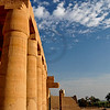 Giant papyrus columns in the Ramesseum, the ancient egyptian mortuary temple of Ramses II at thebes near Luxor, Egypt