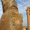 Polished sculpture head of Ramses II at the ancient egyptian mortuary temple of Ramses II at thebes near Luxor, Egypt