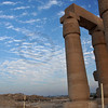 The awesome columns of the Ramesseum at sunset, the ancient egyptian mortuary temple of Ramses II at thebes near Luxor, Egypt
