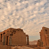 The second court and hypostyle hall of the Ramesseum at sunset, the ancient egyptian mortuary temple of Ramses II at thebes near Luxor, Egypt