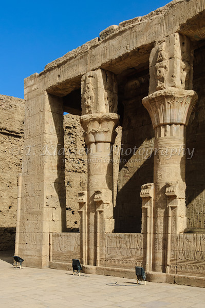 The ruins and remains of the Horus Temple at Edfu, Egypt.