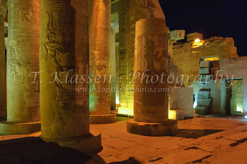 The reconstructed ruins of the Temple of Kom Ombo illuminated at night near Kom Ombo, Egypt.