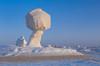 Mushroom shaped white gypsum formations in the White Desert of Egypt's western desert.