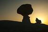 Gypsum formations at sunset in the White Desert of Egypt's western desert.