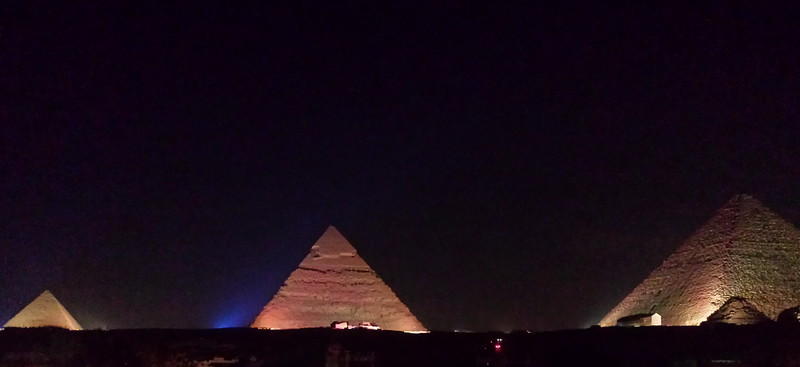 We were just in time for  the Yanni concert, so they were lighting the pyramids in a spectacular fashion.