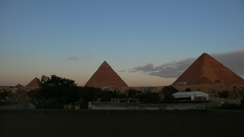 The 3 great pyramids at sunset