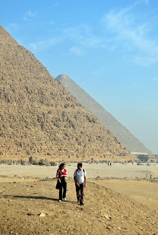 Tourists Outside Pyramids of Khufu and Khafre, Giza