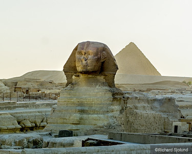 The Sphinx and a Pyramid in Cairo Egypt