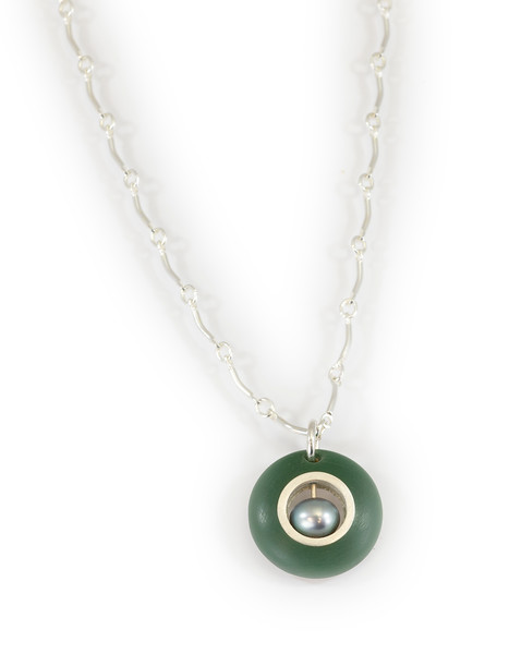 """#3 """"Green New Peal Necklace - Chain is 16"""" to 18"""" - $90. Call Smith Galleries to order at 800.272.3870 between 10 am and 5 pm, Monday through Saturday."""