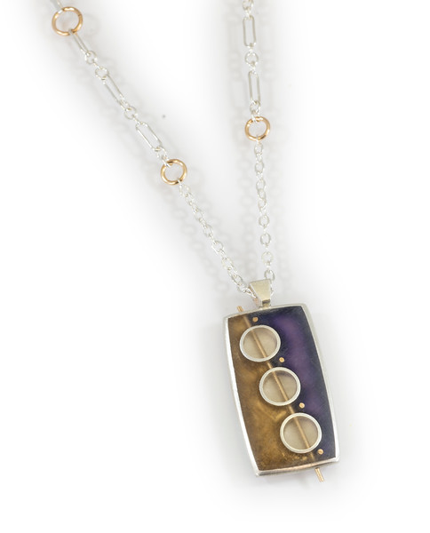 """#13 """"Three Circle Rectangle  Necklace - Chain is 18"""" to 20"""" - $215. Call Smith Galleries to order at 800.272.3870 between 10 am and 5 pm, Monday through Saturday."""