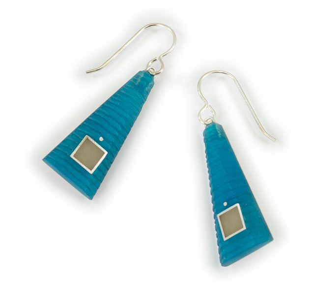 """#18 """"Carved TRI Turquoise"""" - $90. Sterling and Resin - Call Smith Galleries to order at 800.272.3870 between 10 am and 5 pm, Monday through Saturday."""