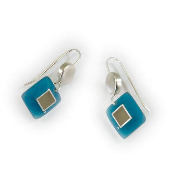 """#20 """"Dot Square Turquoise Earring"""" - $100. Sterling and Resin - Call Smith Galleries to order at 800.272.3870 between 10 am and 5 pm, Monday through Saturday."""