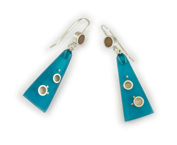 """#17 """"Carved Trio Turquoise/Caramel Earring"""" - $135. Sterling and Resin - Call Smith Galleries to order at 800.272.3870 between 10 am and 5 pm, Monday through Saturday."""