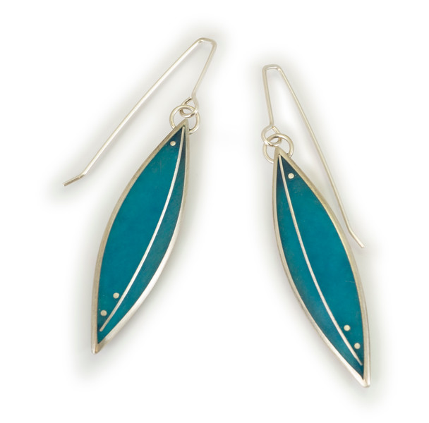 """#16 """"Leaf Turquoise Earring"""" - $265. Sterling and Resin - Call Smith Galleries to order at 800.272.3870 between 10 am and 5 pm, Monday through Saturday."""