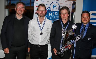 Gylfi Sigfússon forstjóri Eimskip, Kristján Þór Einarsson (GM), Vikar Jónasson (GK), Haukur Örn Birgisson forseti GSÍ.
