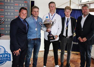 Haukur Örn Birgisson forseti GSÍ, Haraldur Franklín Magnús (GR), Aron Snær Júlíusson (GKG), Guðmunur Ágúst Kristjánsson (GR), Hjörtur Freyr Vigfússon markaðsstjóri Securitas.