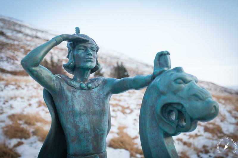 Statue of Leifur Erikkson at Eiríksstaðir